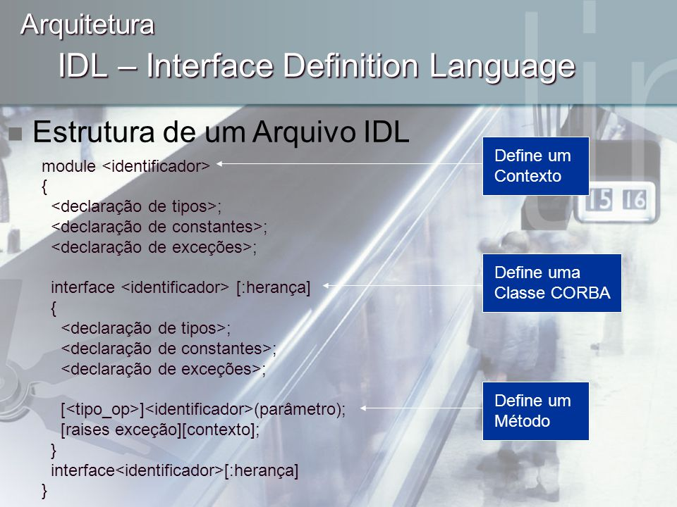 IDL – Interface Definition Language module { ; interface [:herança] { ; [ ] (parâmetro); [raises exceção][contexto]; } interface [:herança] } Arquitet