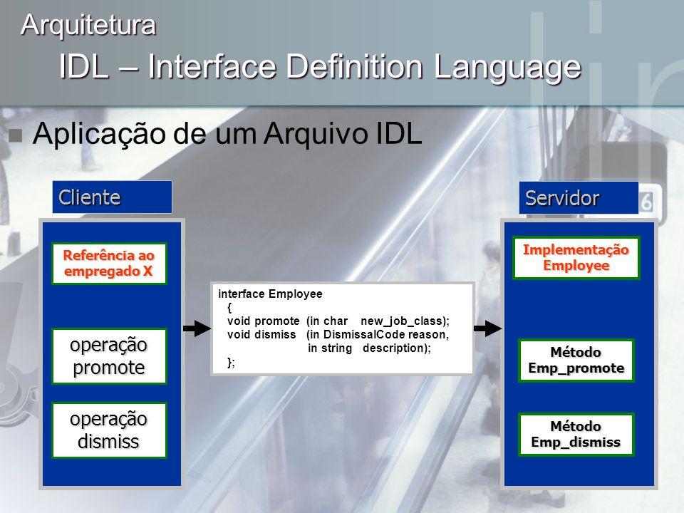 IDL – Interface Definition Language Arquitetura Aplicação de um Arquivo IDL interface Employee { void promote (in char new_job_class); void dismiss (i