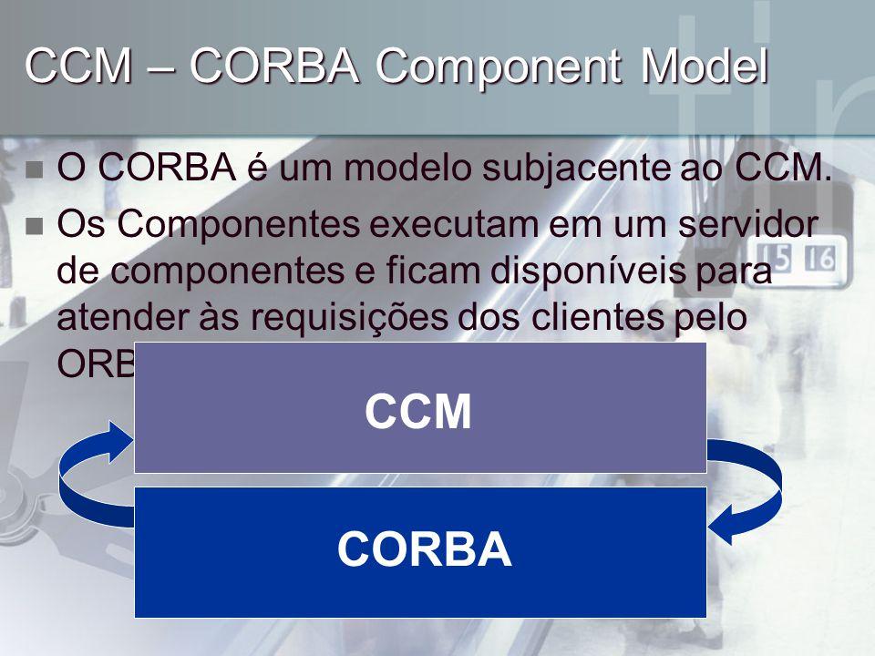 CCM – CORBA Component Model O CORBA é um modelo subjacente ao CCM. Os Componentes executam em um servidor de componentes e ficam disponíveis para aten