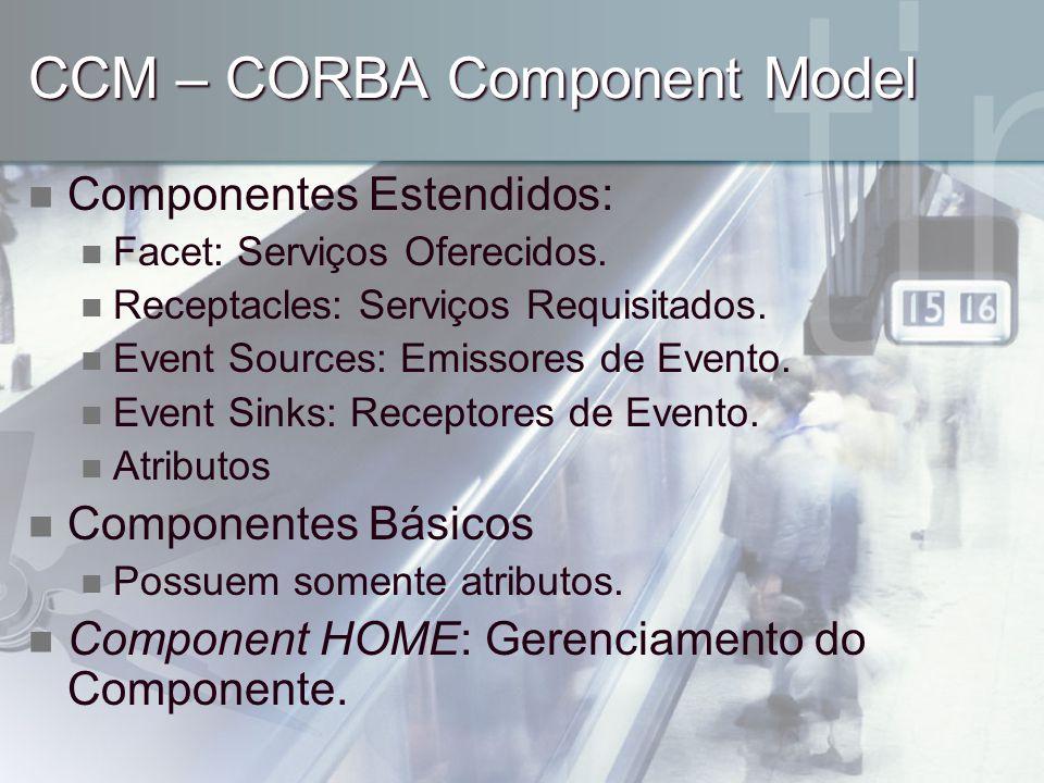 CCM – CORBA Component Model Componentes Estendidos: Facet: Serviços Oferecidos. Receptacles: Serviços Requisitados. Event Sources: Emissores de Evento