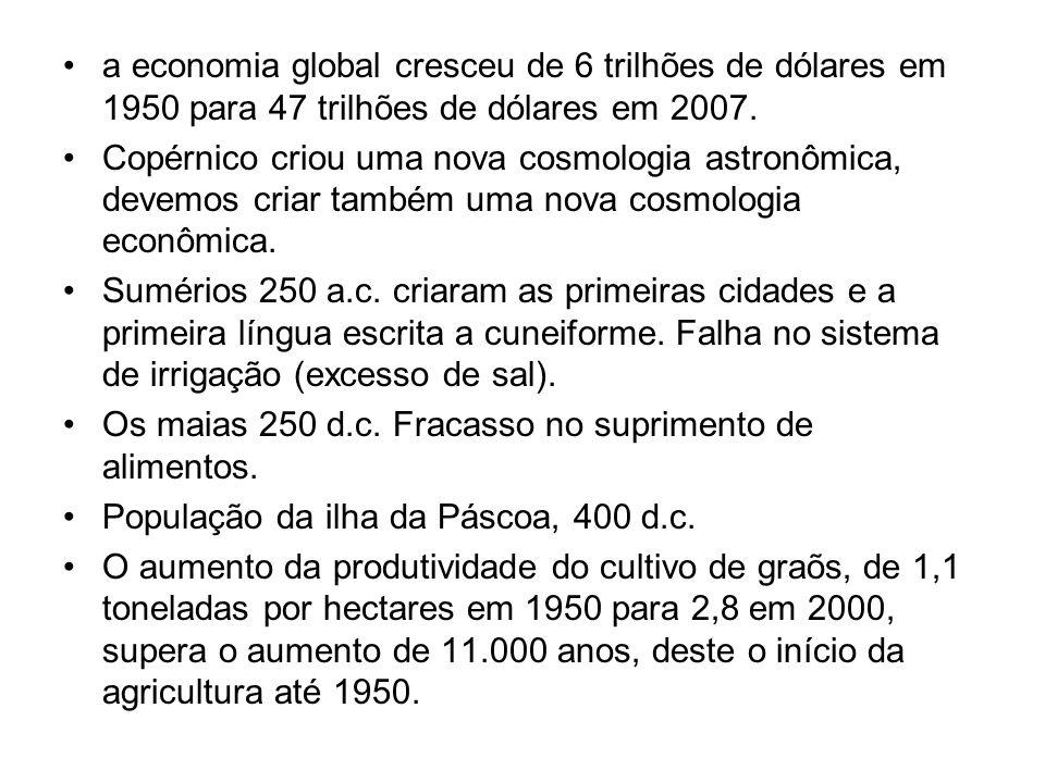 a economia global cresceu de 6 trilhões de dólares em 1950 para 47 trilhões de dólares em 2007. Copérnico criou uma nova cosmologia astronômica, devem