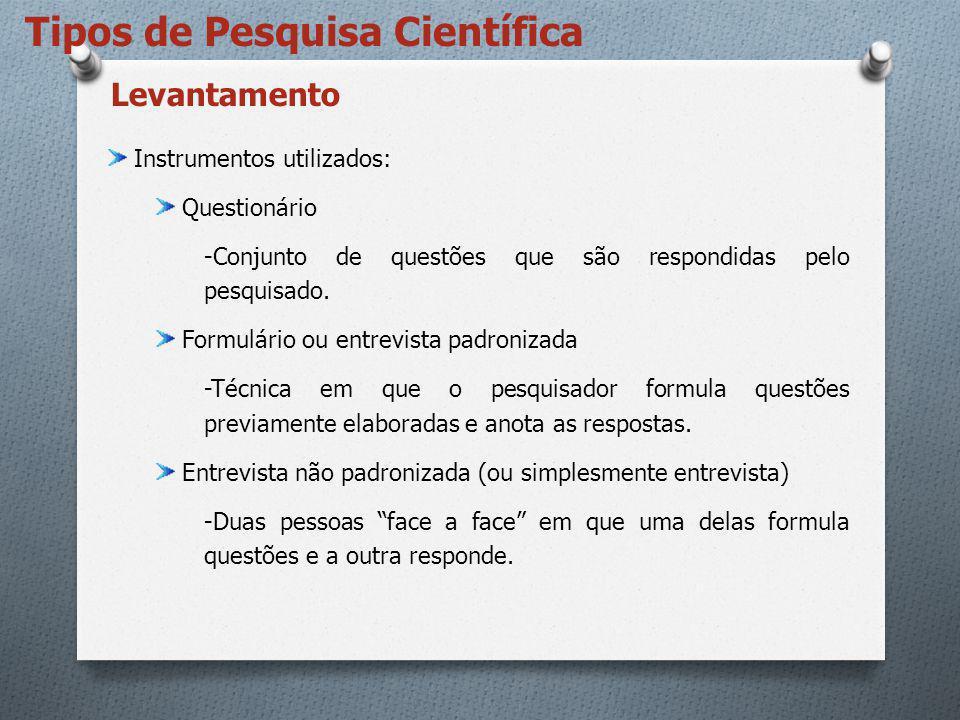 Tipos de Pesquisa Científica Instrumentos utilizados: Questionário -Conjunto de questões que são respondidas pelo pesquisado. Formulário ou entrevista