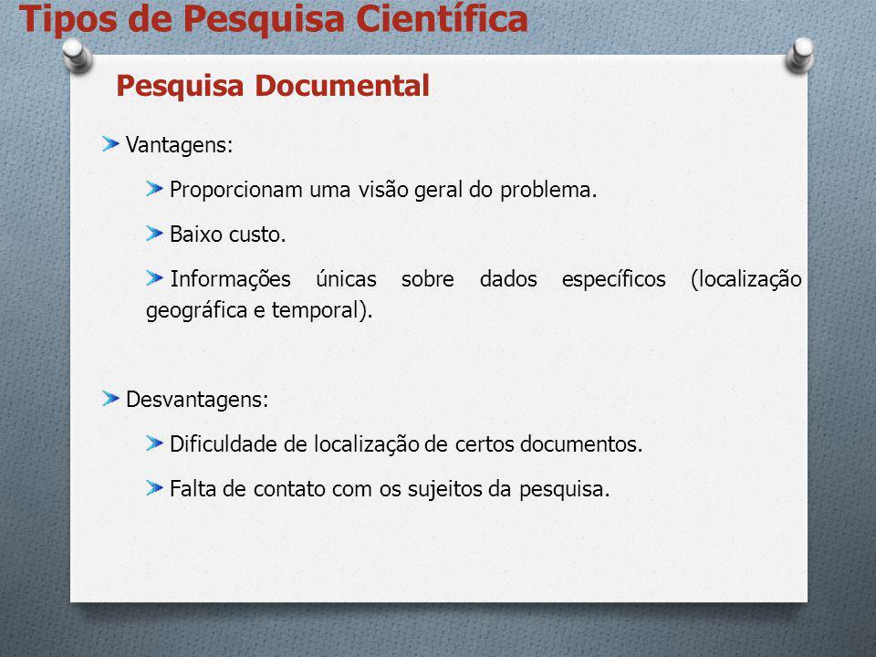Tipos de Pesquisa Científica Vantagens: Proporcionam uma visão geral do problema. Baixo custo. Informações únicas sobre dados específicos (localização