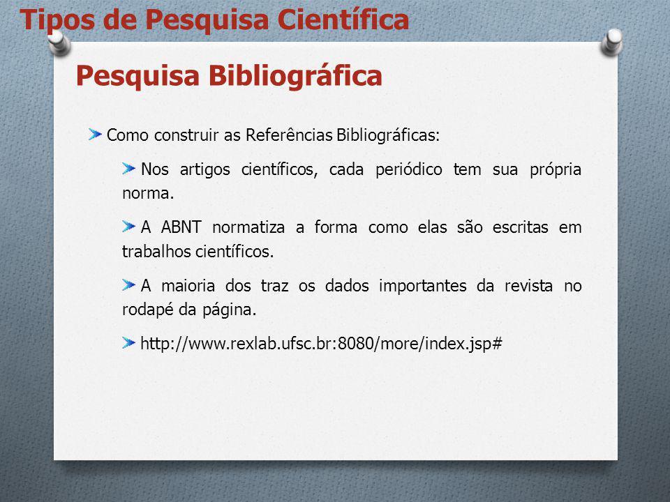 Pesquisa Bibliográfica Como construir as Referências Bibliográficas: Nos artigos científicos, cada periódico tem sua própria norma. A ABNT normatiza a