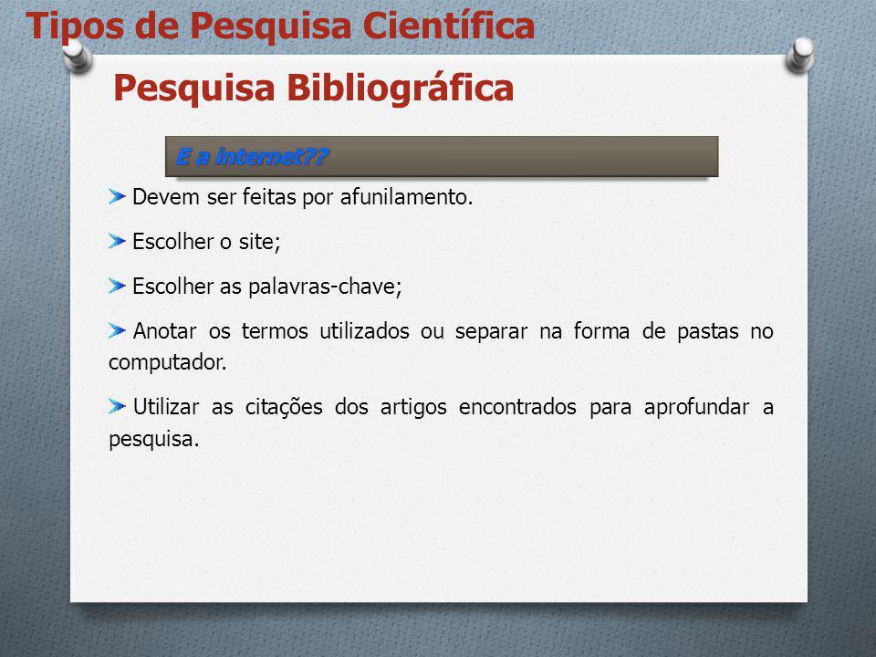 Pesquisa Bibliográfica Devem ser feitas por afunilamento. Escolher o site; Escolher as palavras-chave; Anotar os termos utilizados ou separar na forma