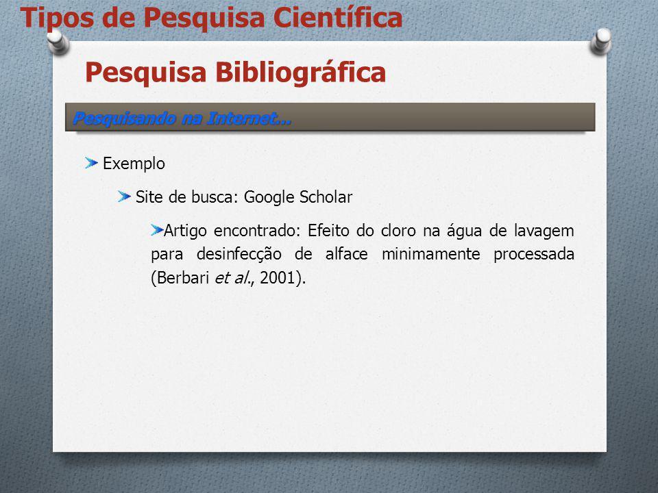 Pesquisa Bibliográfica Exemplo Site de busca: Google Scholar Artigo encontrado: Efeito do cloro na água de lavagem para desinfecção de alface minimame