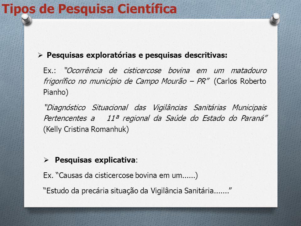 Ensaio científico destinado à verificação de um fenômeno Determinar: objeto de estudo e variáveis.