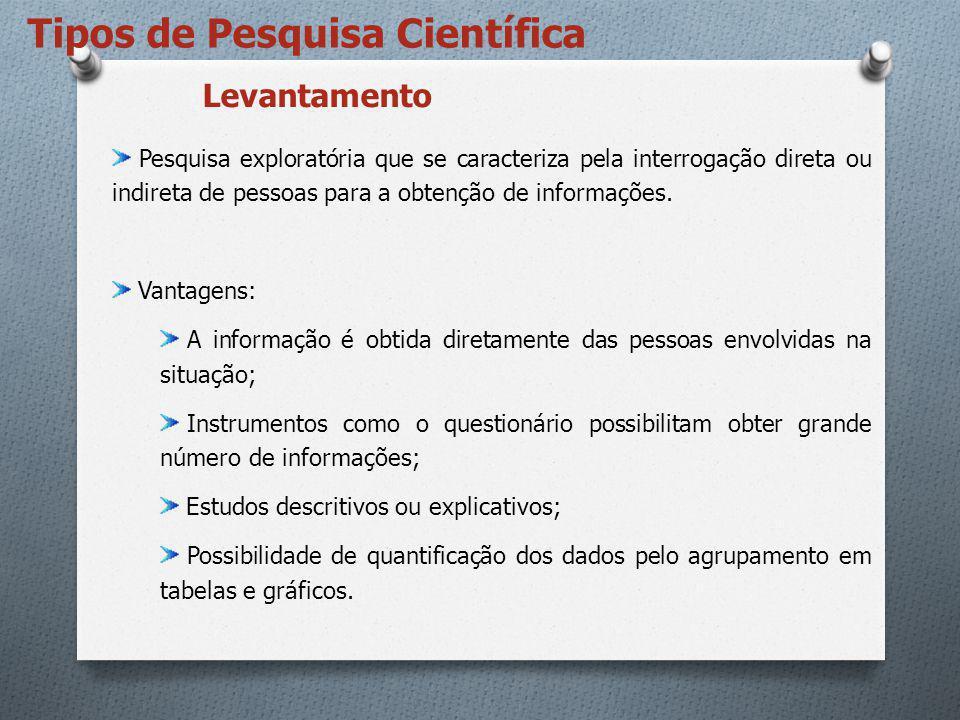 Tipos de Pesquisa Científica Vantagens: Proporcionam uma visão geral do problema.