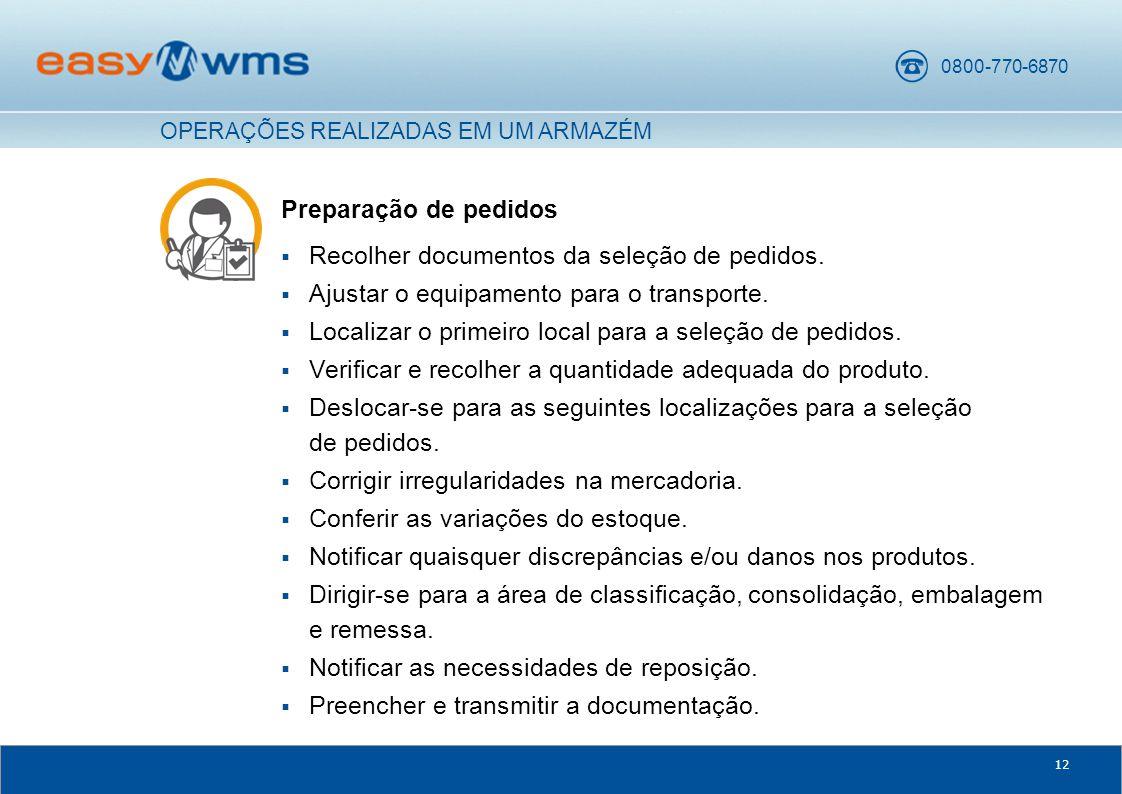 0800-770-6870 12 Preparação de pedidos  Recolher documentos da seleção de pedidos.