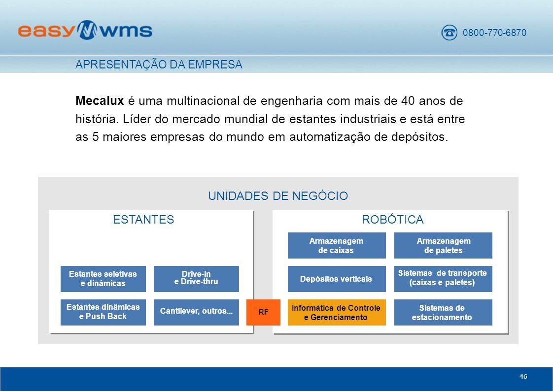 0800-770-6870 46 UNIDADES DE NEGÓCIO Mecalux é uma multinacional de engenharia com mais de 40 anos de história.