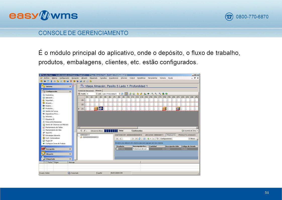 0800-770-6870 51 É o módulo principal do aplicativo, onde o depósito, o fluxo de trabalho, produtos, embalagens, clientes, etc.