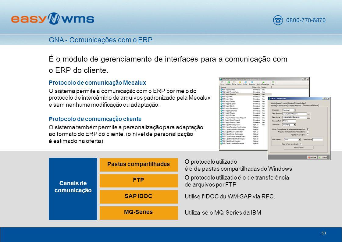 0800-770-6870 53 É o módulo de gerenciamento de interfaces para a comunicação com o ERP do cliente.