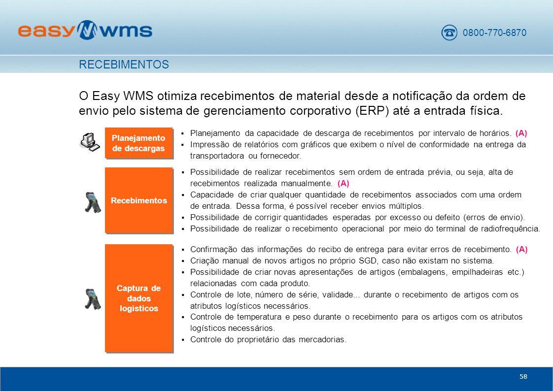0800-770-6870 58 O Easy WMS otimiza recebimentos de material desde a notificação da ordem de envio pelo sistema de gerenciamento corporativo (ERP) até a entrada física.