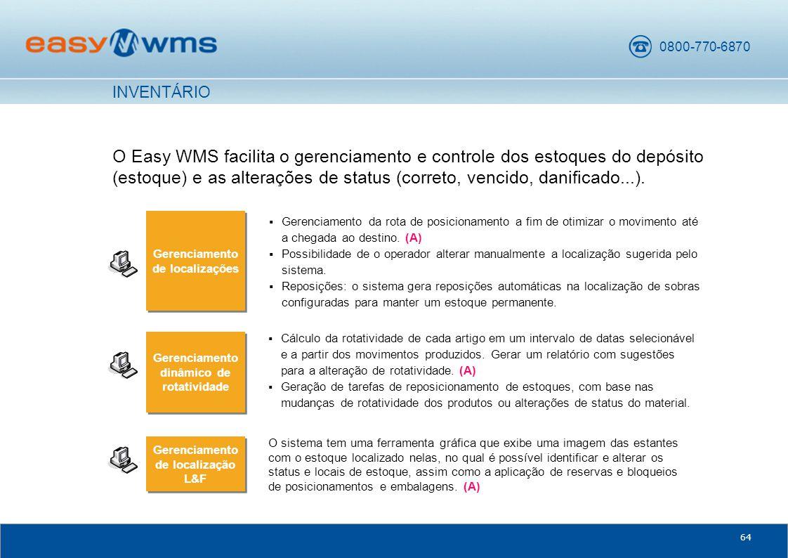 0800-770-6870 64 O Easy WMS facilita o gerenciamento e controle dos estoques do depósito (estoque) e as alterações de status (correto, vencido, danificado...).