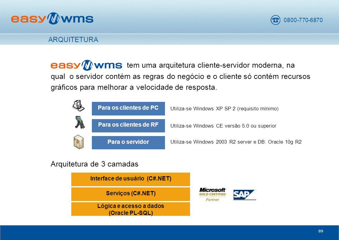0800-770-6870 89 tem uma arquitetura cliente-servidor moderna, na qual o servidor contém as regras do negócio e o cliente só contém recursos gráficos para melhorar a velocidade de resposta.