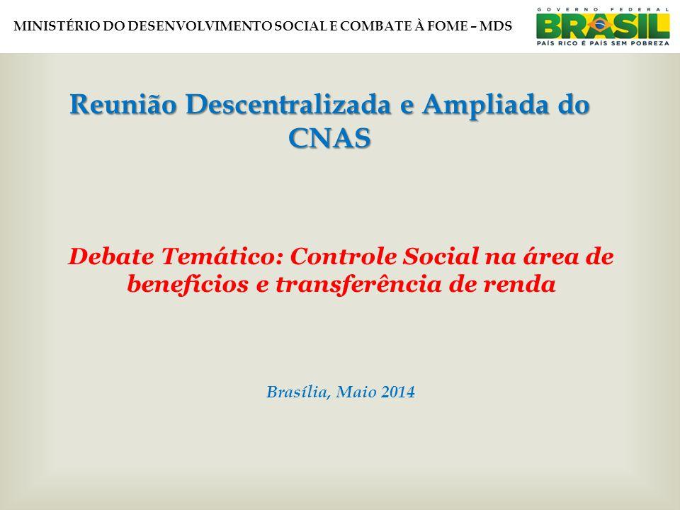 MINISTÉRIO DO DESENVOLVIMENTO SOCIAL E COMBATE À FOME – MDS Debate Temático: Controle Social na área de benefícios e transferência de renda Brasília, Maio 2014 Reunião Descentralizada e Ampliada do CNAS