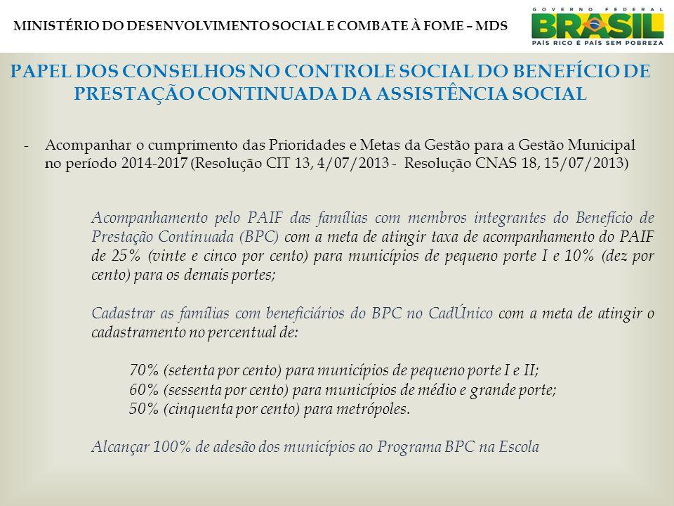 MINISTÉRIO DO DESENVOLVIMENTO SOCIAL E COMBATE À FOME – MDS PAPEL DOS CONSELHOS NO CONTROLE SOCIAL DO BENEFÍCIO DE PRESTAÇÃO CONTINUADA DA ASSISTÊNCIA SOCIAL -Acompanhar o cumprimento das Prioridades e Metas da Gestão para a Gestão Municipal no período 2014-2017 (Resolução CIT 13, 4/07/2013 - Resolução CNAS 18, 15/07/2013) Acompanhamento pelo PAIF das famílias com membros integrantes do Benefício de Prestação Continuada (BPC) com a meta de atingir taxa de acompanhamento do PAIF de 25% (vinte e cinco por cento) para municípios de pequeno porte I e 10% (dez por cento) para os demais portes; Cadastrar as famílias com beneficiários do BPC no CadÚnico com a meta de atingir o cadastramento no percentual de: 70% (setenta por cento) para municípios de pequeno porte I e II; 60% (sessenta por cento) para municípios de médio e grande porte; 50% (cinquenta por cento) para metrópoles.