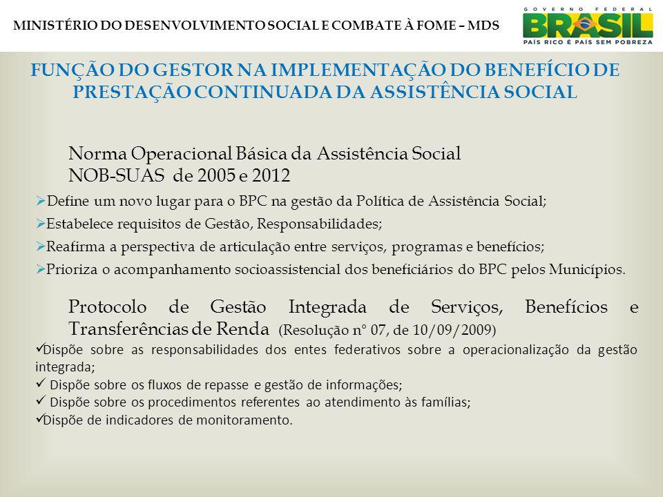 MINISTÉRIO DO DESENVOLVIMENTO SOCIAL E COMBATE À FOME – MDS FUNÇÃO DO GESTOR NA IMPLEMENTAÇÃO DO BENEFÍCIO DE PRESTAÇÃO CONTINUADA DA ASSISTÊNCIA SOCIAL Norma Operacional Básica da Assistência Social NOB-SUAS de 2005 e 2012  Define um novo lugar para o BPC na gestão da Política de Assistência Social;  Estabelece requisitos de Gestão, Responsabilidades;  Reafirma a perspectiva de articulação entre serviços, programas e benefícios;  Prioriza o acompanhamento socioassistencial dos beneficiários do BPC pelos Municípios.