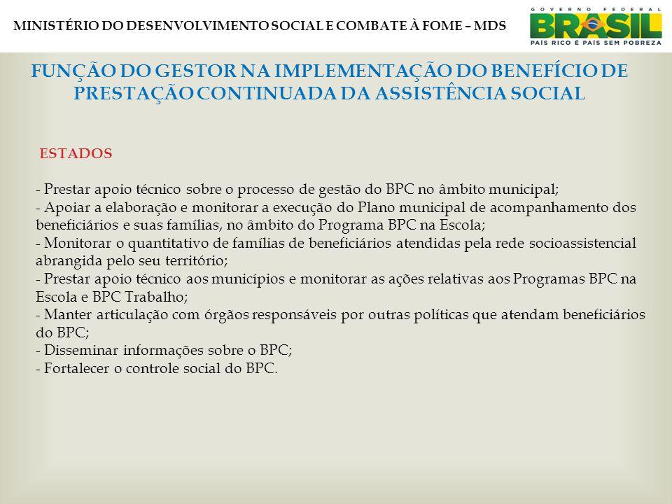 MINISTÉRIO DO DESENVOLVIMENTO SOCIAL E COMBATE À FOME – MDS FUNÇÃO DO GESTOR NA IMPLEMENTAÇÃO DO BENEFÍCIO DE PRESTAÇÃO CONTINUADA DA ASSISTÊNCIA SOCIAL ESTADOS - Prestar apoio técnico sobre o processo de gestão do BPC no âmbito municipal; - Apoiar a elaboração e monitorar a execução do Plano municipal de acompanhamento dos beneficiários e suas famílias, no âmbito do Programa BPC na Escola; - Monitorar o quantitativo de famílias de beneficiários atendidas pela rede socioassistencial abrangida pelo seu território; - Prestar apoio técnico aos municípios e monitorar as ações relativas aos Programas BPC na Escola e BPC Trabalho; - Manter articulação com órgãos responsáveis por outras políticas que atendam beneficiários do BPC; - Disseminar informações sobre o BPC; - Fortalecer o controle social do BPC.
