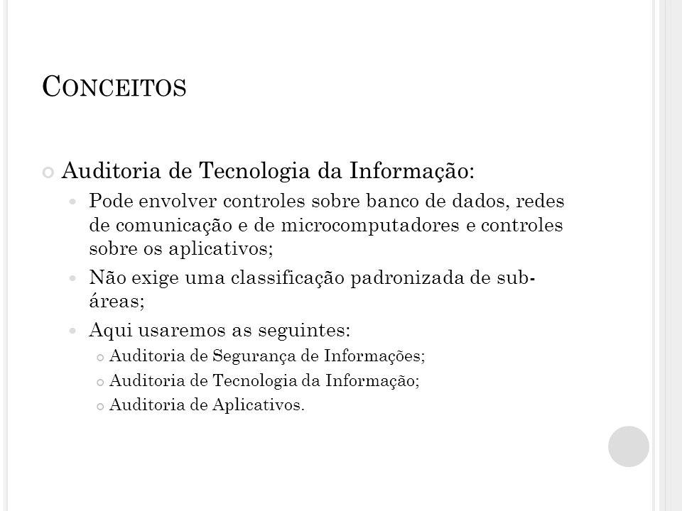 C ONCEITOS Auditoria de Tecnologia da Informação: Pode envolver controles sobre banco de dados, redes de comunicação e de microcomputadores e controle