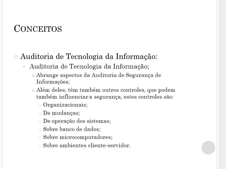 C ONCEITOS Auditoria de Tecnologia da Informação: Auditoria de Tecnologia da Informação; Abrange aspectos da Auditoria de Segurança de Informações; Al