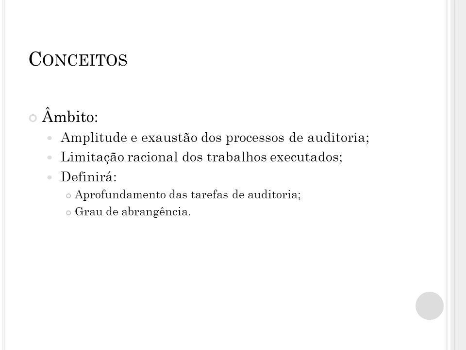 C ONCEITOS Âmbito: Amplitude e exaustão dos processos de auditoria; Limitação racional dos trabalhos executados; Definirá: Aprofundamento das tarefas