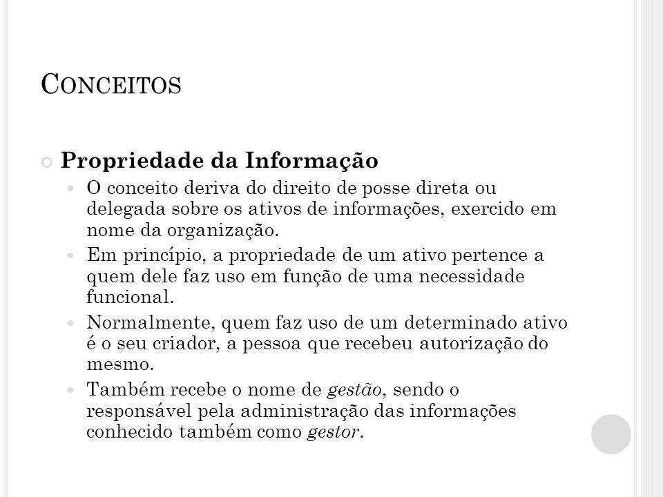 C ONCEITOS Propriedade da Informação O conceito deriva do direito de posse direta ou delegada sobre os ativos de informações, exercido em nome da orga