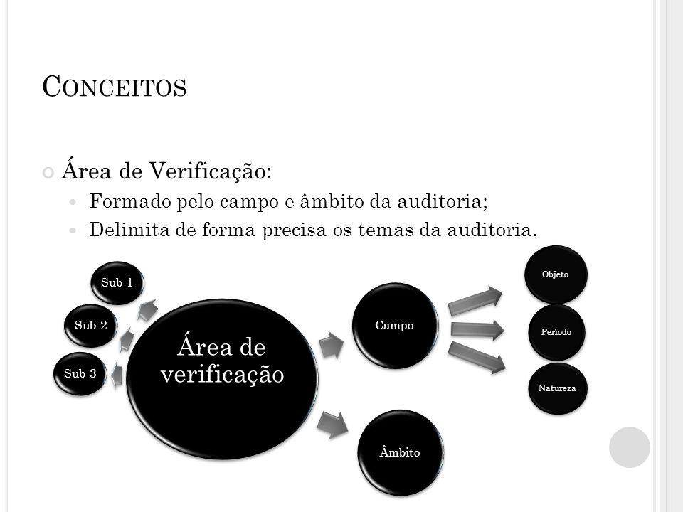 C ONCEITOS Área de Verificação: Formado pelo campo e âmbito da auditoria; Delimita de forma precisa os temas da auditoria. Campo Objeto Natureza Perío