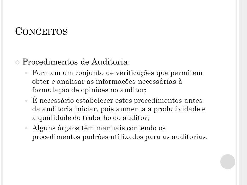 C ONCEITOS Procedimentos de Auditoria: Formam um conjunto de verificações que permitem obter e analisar as informações necessárias à formulação de opi