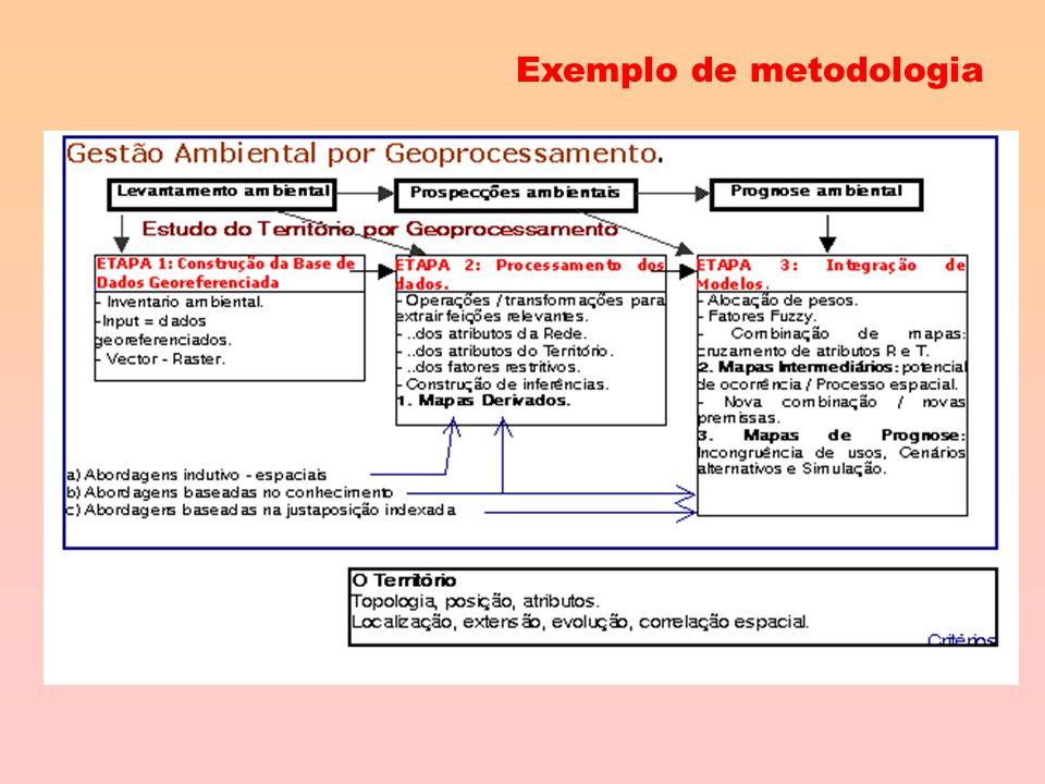 Metodologia de um projeto GIS Estrutura básica Etapa 1Etapa 2Etapa 3 Construção da base de dados georeferenciada Processamento dos dados Integração de