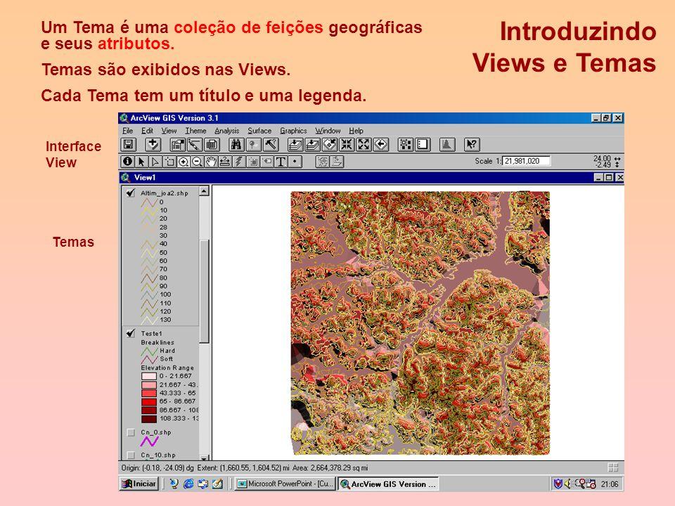 Projetos do Arcview Contém documentos do ArcView. Armazena o seu trabalho em um único arquivo (.apr) que faz referência aos seus dados. Lista todos os