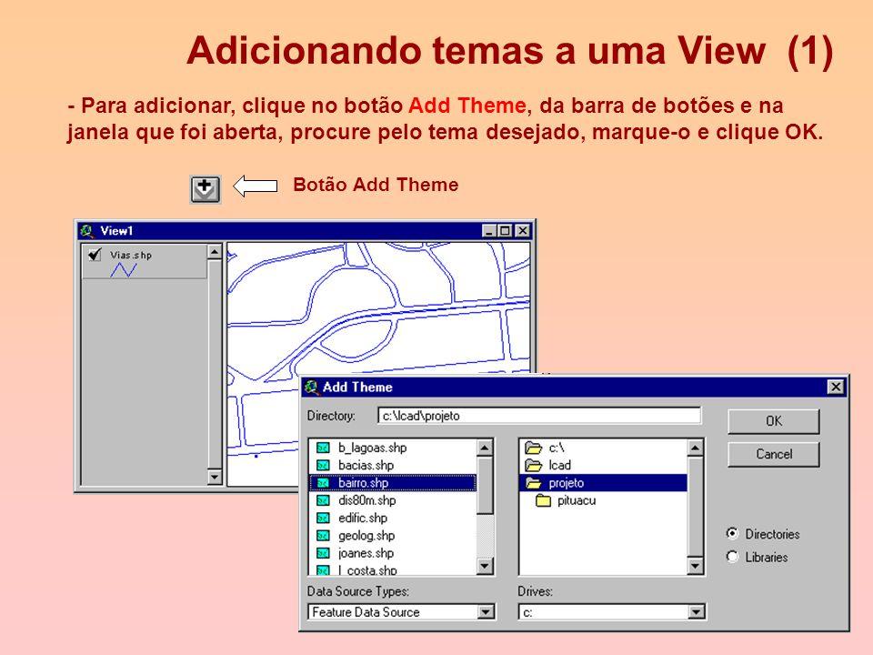 Views e Temas - Projetos podem conter várias Views, que são mapas interativos de temas de informações geográficas. - Views podem abrigar diversos Tema