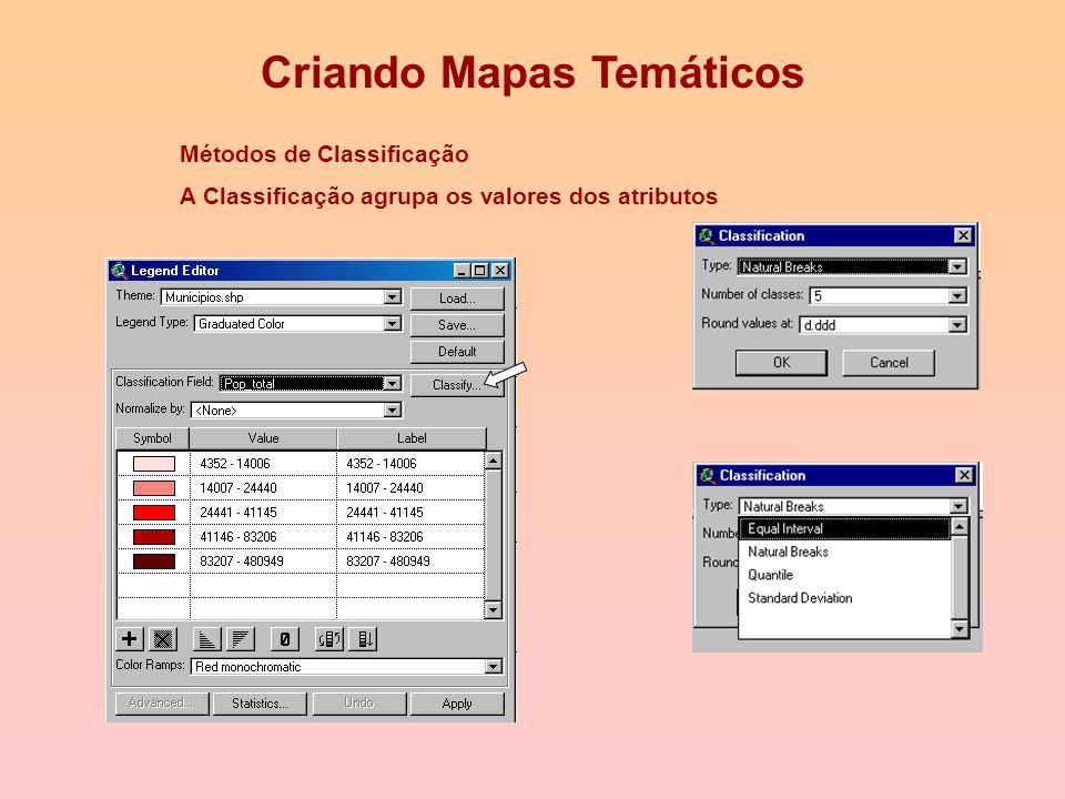 Criando Mapas Temáticos 1.Abrir arquivo de municipio.shp 2.Theme Edit Legend 3. Seleciona em Legend type: Graduated Color 4. Seleciona em Classificati