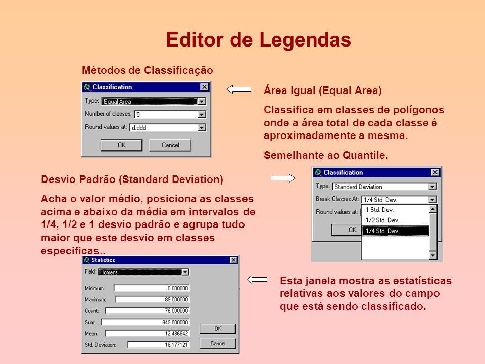 Editor de Legendas Métodos de Classificação Quebras Naturais (Natural Breaks) Classifica em classes identificando pontos de ruptura entre os valores.