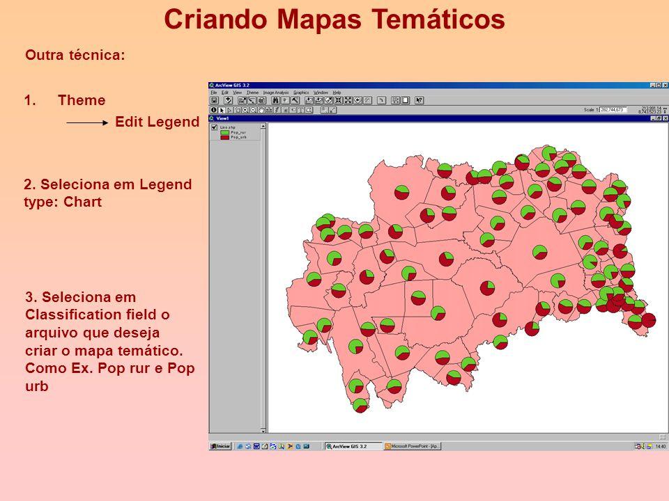 Outra técnica: Criando Mapas Temáticos 1.Theme Edit Legend 2. Seleciona em Legend type: Dot 3. Seleciona em Classification field o arquivo que deseja