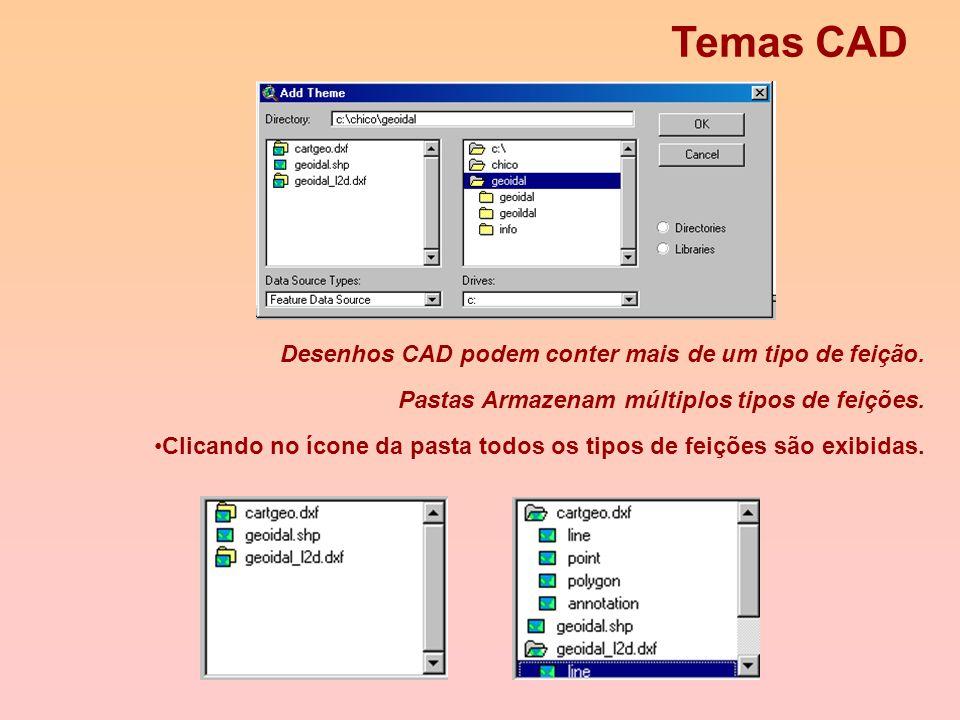 Adicionando uma feição CAD a uma View (3) - DWG, DGN e DXF - Antes que você possa adicionar um tema proveniente de um desenho CAD, você deve carregar