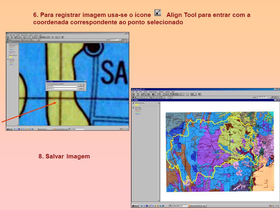 5. Pontos para registrar a imagem (Georeferenciar) 1 – 391131.47, 8673233.58 2 – 282232.44, 8672640.67 3 – 391549.31, 8562634.71 4 – 283068.72, 856199