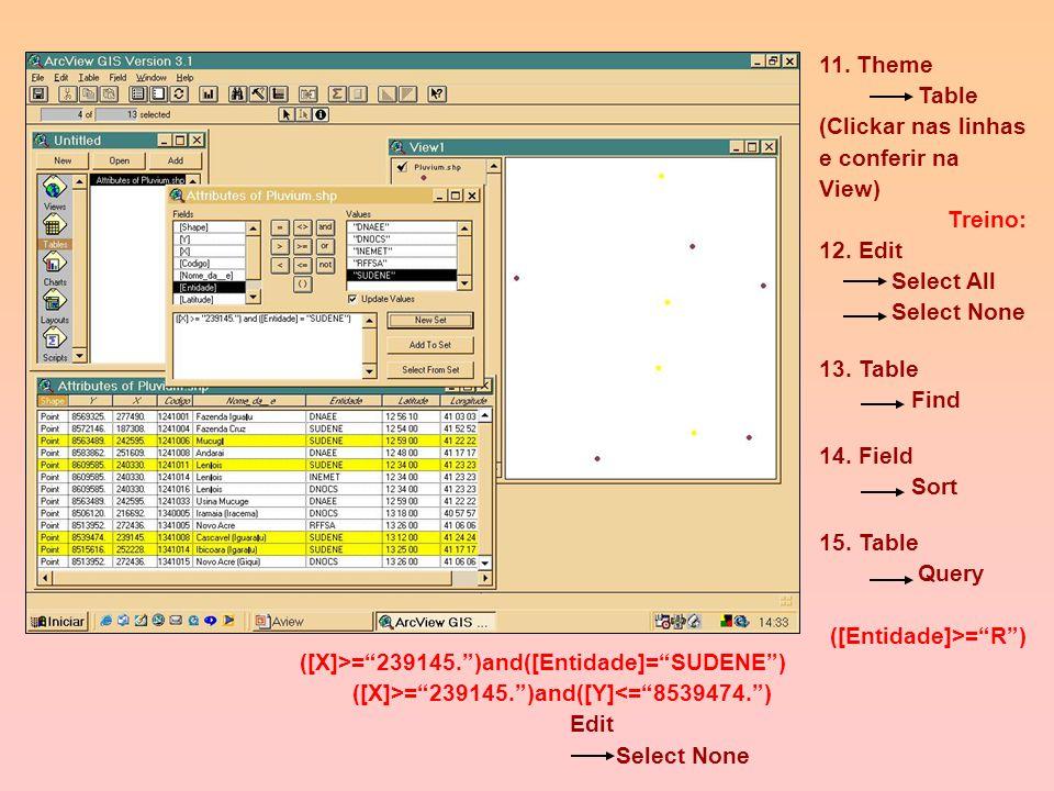 9. Logo, Identify e compare com o Tema anterior.dbf 10. Edit Delete Theme cidades.dbf 6. Portanto, criou-se um Theme (cidades.dbf) 7. Theme Convert Sh