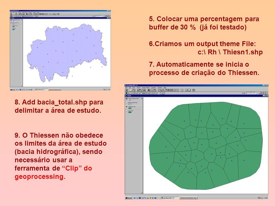"""2. Depois de ativar o arquivo - feição ponto de referencia (pluviométricos selecioando), usa-se o ícone """"Thiessen Polygons"""". 3. Selecionar um campo id"""