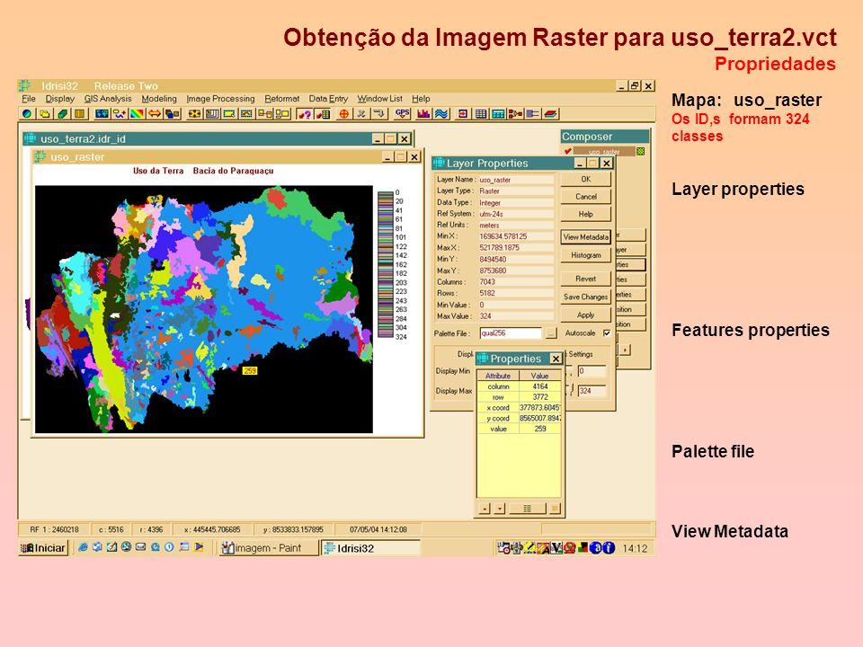 Conversão Vetor - Raster Parâmetros de referencia para a imagem raster de Usos da Terra S UTM 24 X'= 352154.61 m Y'= 259140.23 m Mapa ref. 1:100000 Pi