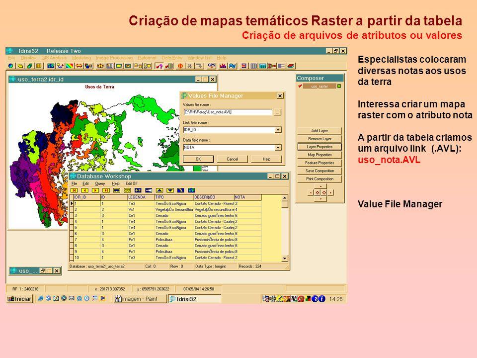 Obtenção da Imagem Raster para uso_terra2.vct Propriedades Mapa: uso_raster Os ID,s formam 324 classes Layer properties Features properties Palette fi