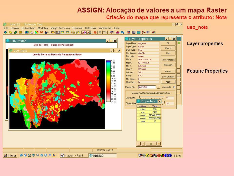 ASSIGN: Alocação de valores a um mapa Raster Utilizando arquivos de atributos ou valores O atribute value file (.AVL) servirá de enlace uso_nota.AVL I