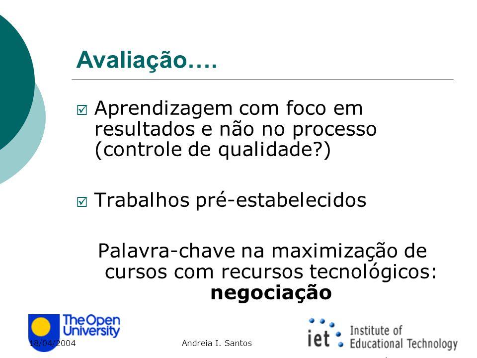 18/04/2004 Andreia I. Santos Avaliação….  Aprendizagem com foco em resultados e não no processo (controle de qualidade?)  Trabalhos pré-estabelecido