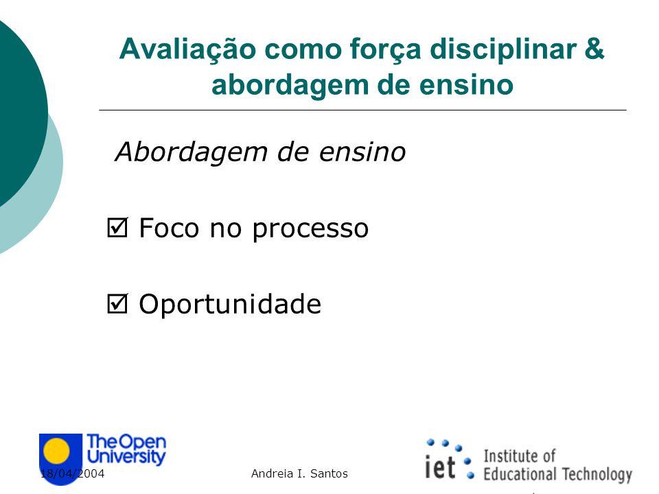 18/04/2004 Andreia I. Santos Avaliação como força disciplinar & abordagem de ensino Abordagem de ensino  Foco no processo  Oportunidade
