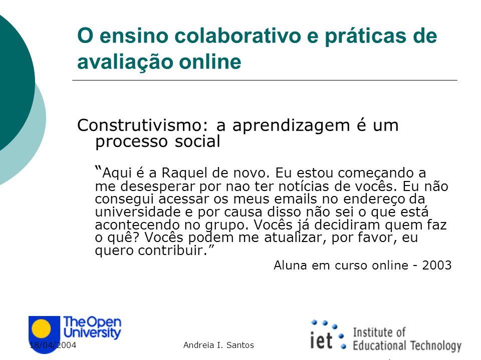 """18/04/2004 Andreia I. Santos O ensino colaborativo e práticas de avaliação online Construtivismo: a aprendizagem é um processo social """" Aqui é a Raque"""