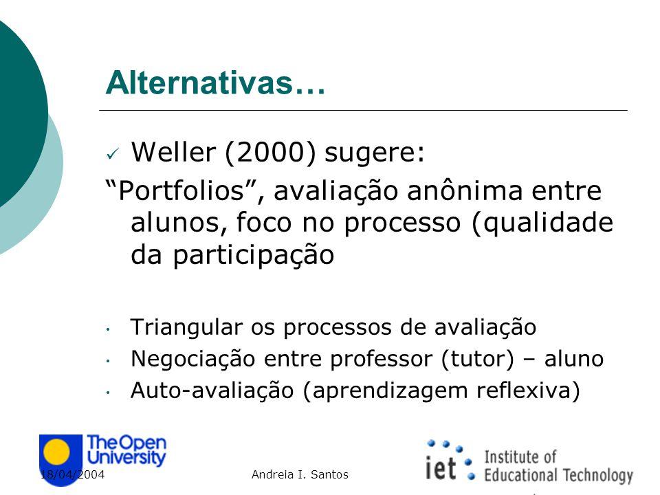 """18/04/2004 Andreia I. Santos Alternativas… Weller (2000) sugere: """"Portfolios"""", avaliação anônima entre alunos, foco no processo (qualidade da particip"""