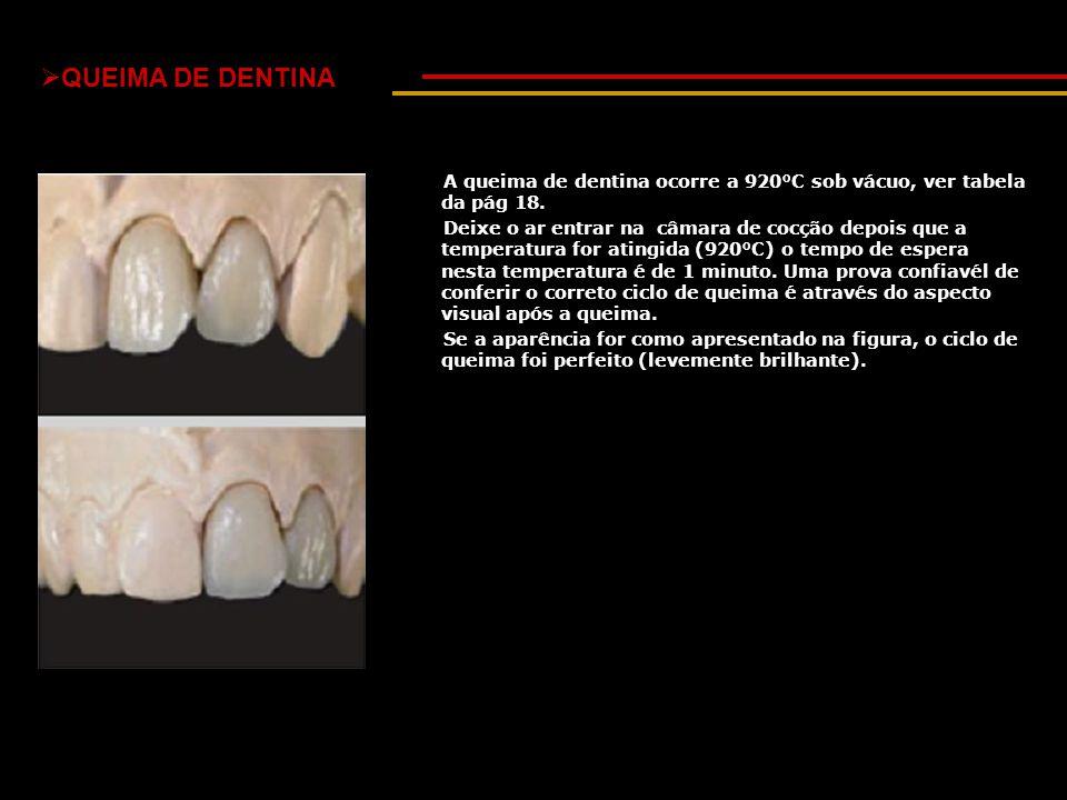  QUEIMA DE DENTINA A queima de dentina ocorre a 920°C sob vácuo, ver tabela da pág 18. Deixe o ar entrar na câmara de cocção depois que a temperatura
