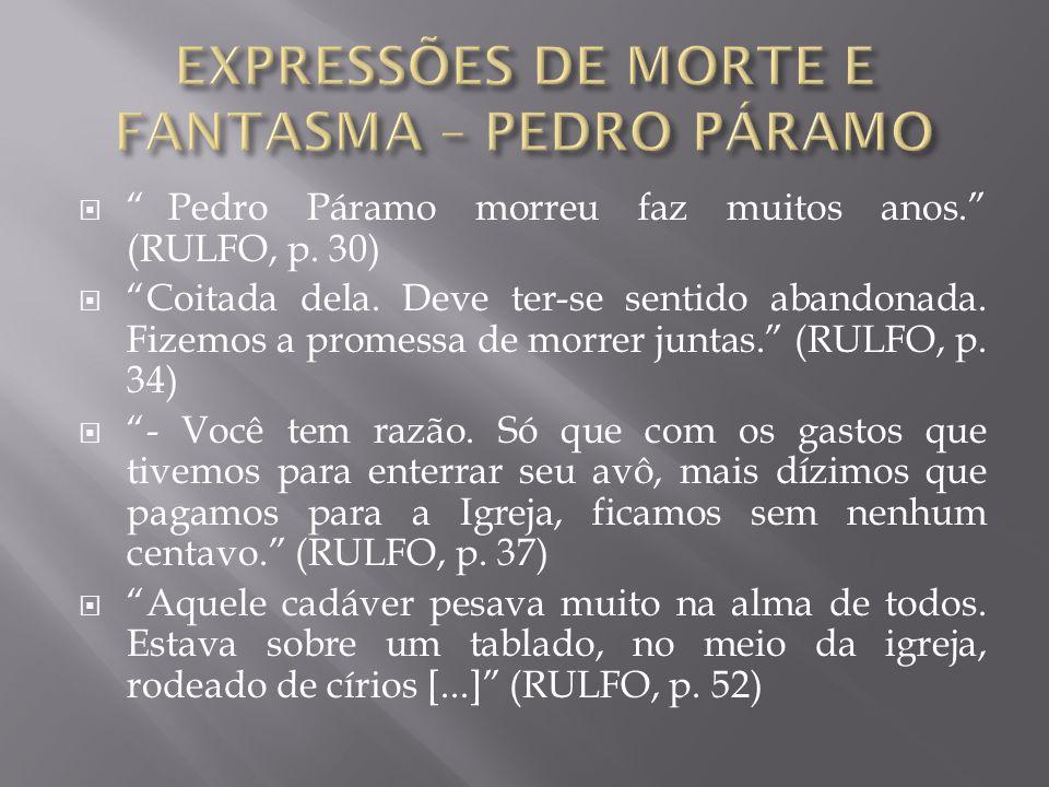 """ """"Pedro Páramo morreu faz muitos anos."""" (RULFO, p. 30)  """"Coitada dela. Deve ter-se sentido abandonada. Fizemos a promessa de morrer juntas."""" (RULFO,"""