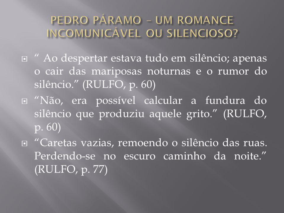 """ """" Ao despertar estava tudo em silêncio; apenas o cair das mariposas noturnas e o rumor do silêncio."""" (RULFO, p. 60)  """"Não, era possível calcular a"""