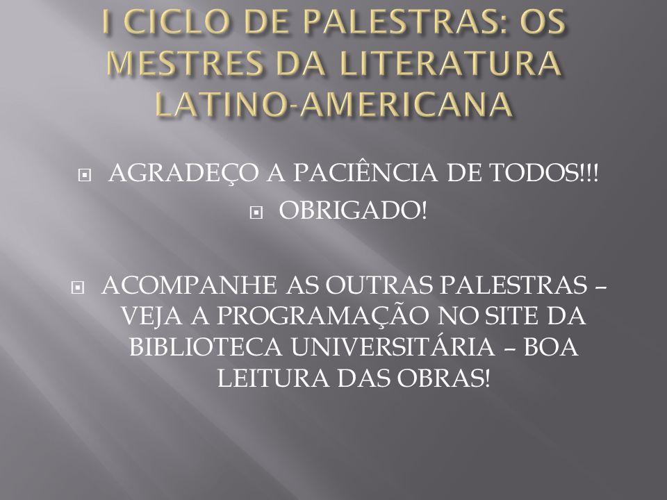  AGRADEÇO A PACIÊNCIA DE TODOS!!!  OBRIGADO!  ACOMPANHE AS OUTRAS PALESTRAS – VEJA A PROGRAMAÇÃO NO SITE DA BIBLIOTECA UNIVERSITÁRIA – BOA LEITURA